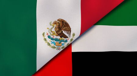 Two states flags of Mexico and United Arab Emirates. High quality business background. 3d illustration