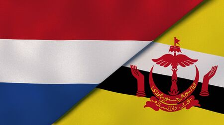 Two states flags of Netherlands and Brunei. High quality business background. 3d illustration Stock Photo