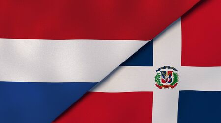 Two states flags of Netherlands and Dominican Republic. High quality business background. 3d illustration