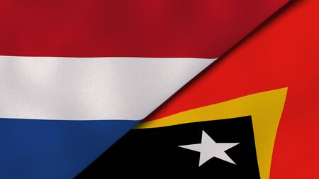 Two states flags of Netherlands and East Timor. High quality business background. 3d illustration