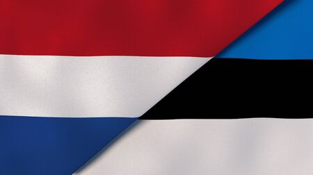 Two states flags of Netherlands and Estonia. High quality business background. 3d illustration