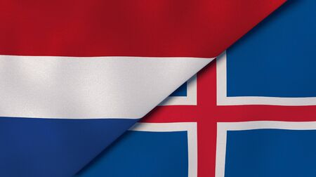 Two states flags of Netherlands and Iceland. High quality business background. 3d illustration