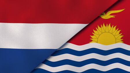 Two states flags of Netherlands and Kiribati. High quality business background. 3d illustration Stock Photo