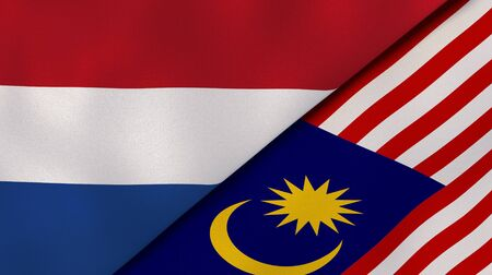 Two states flags of Netherlands and Malaysia. High quality business background. 3d illustration