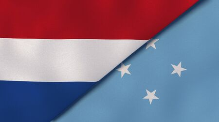 Two states flags of Netherlands and Micronesia. High quality business background. 3d illustration