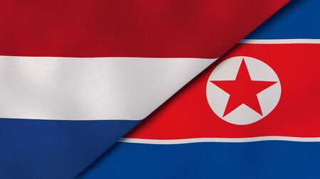 Two states flags of Netherlands and North Korea. High quality business background. 3d illustration