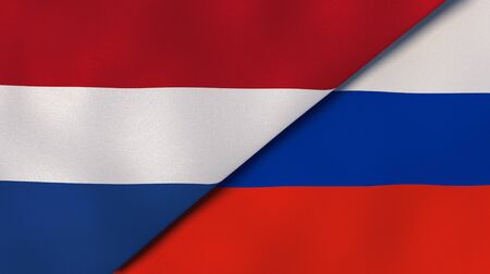 Two states flags of Netherlands and Russia. High quality business background. 3d illustration Stock Photo