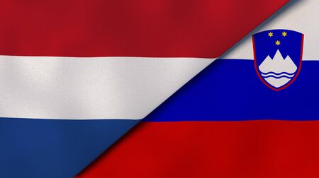 Two states flags of Netherlands and Slovenia. High quality business background. 3d illustration Stock Photo