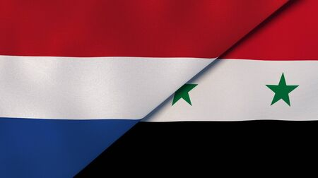Two states flags of Netherlands and Syria. High quality business background. 3d illustration