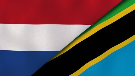 Two states flags of Netherlands and Tanzania. High quality business background. 3d illustration