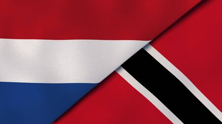 Two states flags of Netherlands and Trinidad and Tobago. High quality business background. 3d illustration