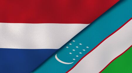 Two states flags of Netherlands and Uzbekistan. High quality business background. 3d illustration