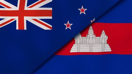 Two states flags of New Zealand and Cambodia . High quality business background. 3d illustration 写真素材