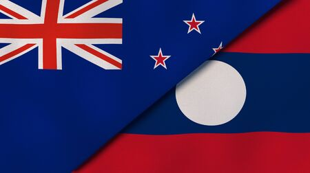 Two states flags of New Zealand and Laos. High quality business background. 3d illustration