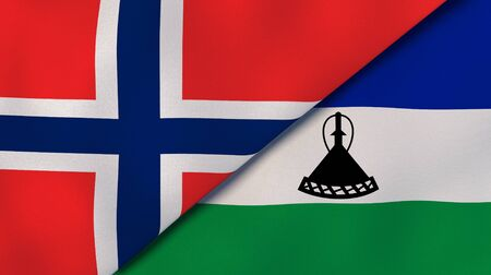 Two states flags of Norway and Lesotho. High quality business background. 3d illustration