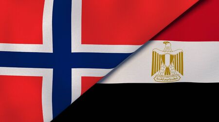 Two states flags of Norway and Egypt. High quality business background. 3d illustration