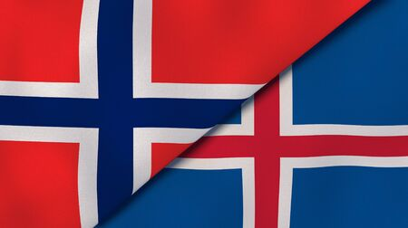 Two states flags of Norway and Iceland. High quality business background. 3d illustration