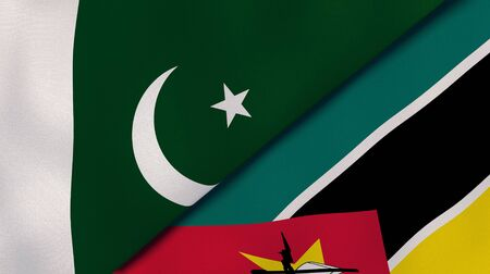 Two states flags of Pakistan and Mozambique. High quality business background. 3d illustration Stock fotó