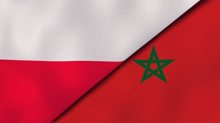 Two states flags of Poland and Morocco. High quality business background. 3d illustration Stock Photo