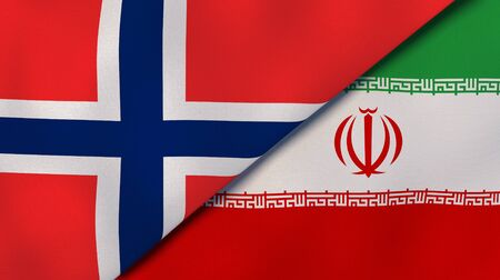 Two states flags of Norway and Iran. High quality business background. 3d illustration Stock Photo