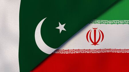 Two states flags of Pakistan and Iran. High quality business background. 3d illustration Stock Photo