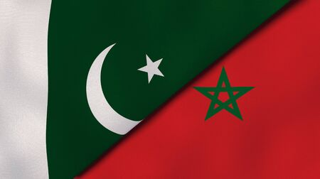 Two states flags of Pakistan and Morocco. High quality business background. 3d illustration