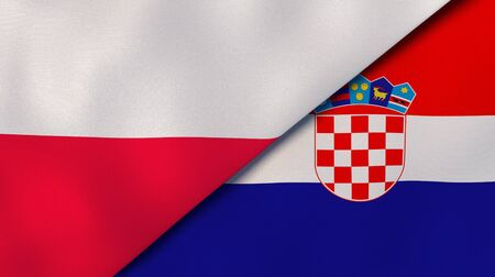 Two states flags of Poland and Croatia. High quality business background. 3d illustration