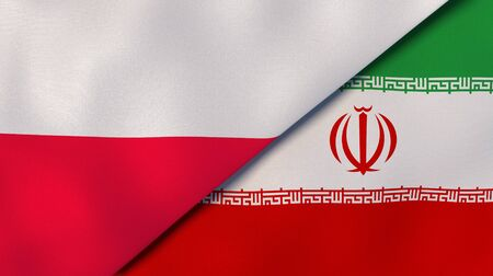 Two states flags of Poland and Iran. High quality business background. 3d illustration