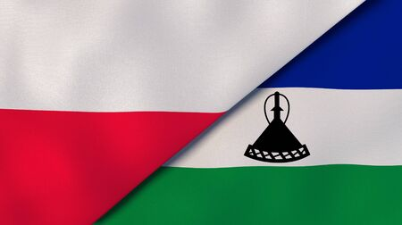 Two states flags of Poland and Lesotho. High quality business background. 3d illustration