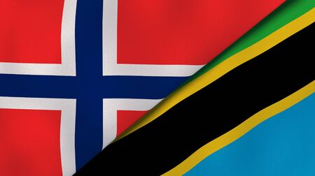 Two states flags of Norway and Tanzania. High quality business background. 3d illustration