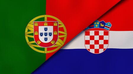Two states flags of Portugal and Croatia. High quality business background. 3d illustration