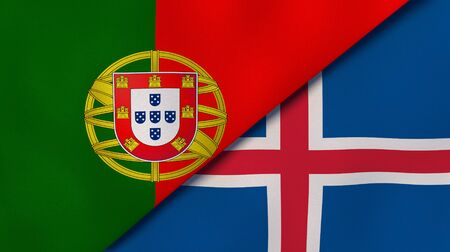 Two states flags of Portugal and Iceland. High quality business background. 3d illustration Banco de Imagens
