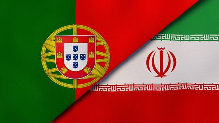 Two states flags of Portugal and Iran. High quality business background. 3d illustration