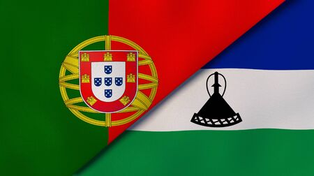 Two states flags of Portugal and Lesotho. High quality business background. 3d illustration