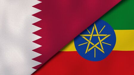 Two states flags of Qatar and Ethiopia. High quality business background. 3d illustration