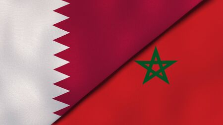 Two states flags of Qatar and Morocco. High quality business background. 3d illustration Stock Photo