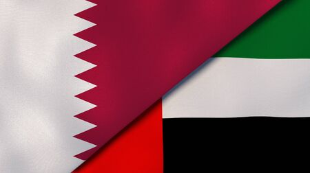 Two states flags of Qatar and United Arab Emirates. High quality business background. 3d illustration