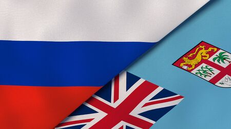 Two states flags of Russia and Fiji. High quality business background. 3d illustration