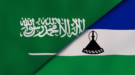 Two states flags of Saudi Arabia and Lesotho. High quality business background. 3d illustration