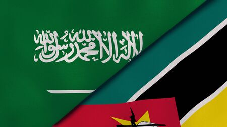 Two states flags of Saudi Arabia and Mozambique. High quality business background. 3d illustration Stock fotó