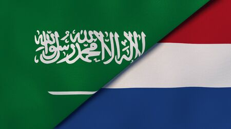 Two states flags of Saudi Arabia and Netherlands. High quality business background. 3d illustration Stock Photo
