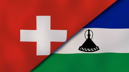 Two states flags of Switzerland and Lesotho. High quality business background. 3d illustration Stock fotó