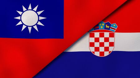 Two states flags of Taiwan and Croatia. High quality business background. 3d illustration Stock Photo