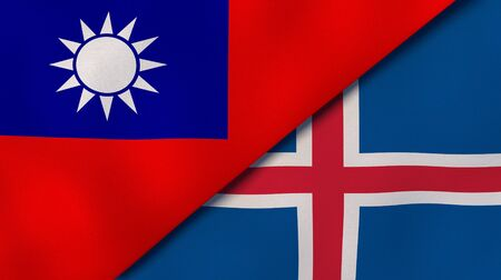 Two states flags of Taiwan and Iceland. High quality business background. 3d illustration