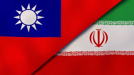 Two states flags of Taiwan and Iran. High quality business background. 3d illustration