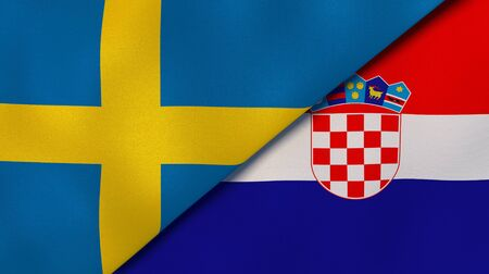 Two states flags of Sweden and Croatia. High quality business background. 3d illustration
