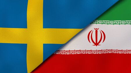 Two states flags of Sweden and Iran. High quality business background. 3d illustration Stock Photo