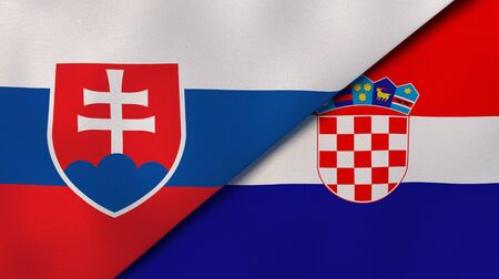 Two states flags of Slovakia and Croatia. High quality business background. 3d illustration