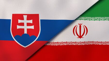 Two states flags of Slovakia and Iran. High quality business background. 3d illustration