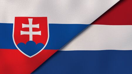 Two states flags of Slovakia and Netherlands. High quality business background. 3d illustration
